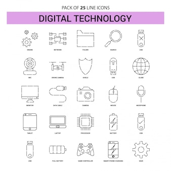 Digital technology line icon set - 25 dashed outline style