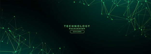 Digital technology network lines mesh banner