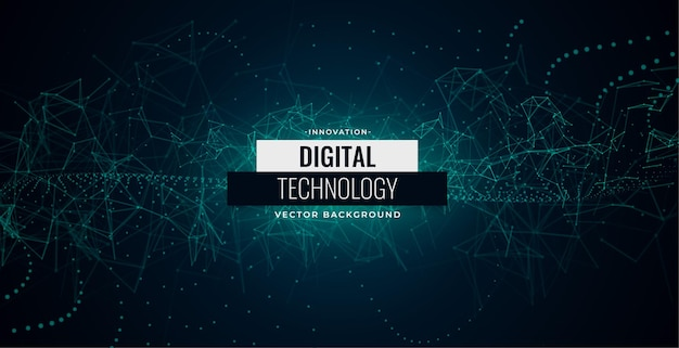 Digital technology particles chaos lines background