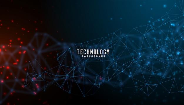 Tecnologia digitale e disegno di sfondo a maglie di particelle