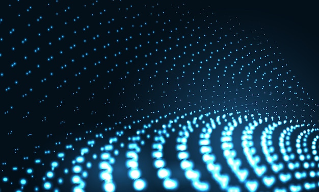 Digital technology particles wave in dark blue abstract background