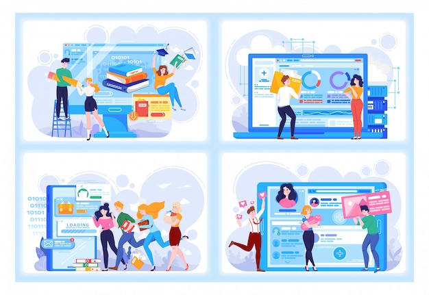 Цифровые технологии люди в бизнесе и виртуальных отношений, онлайн-знакомств, обучения и социальных сетей иллюстрации набор.