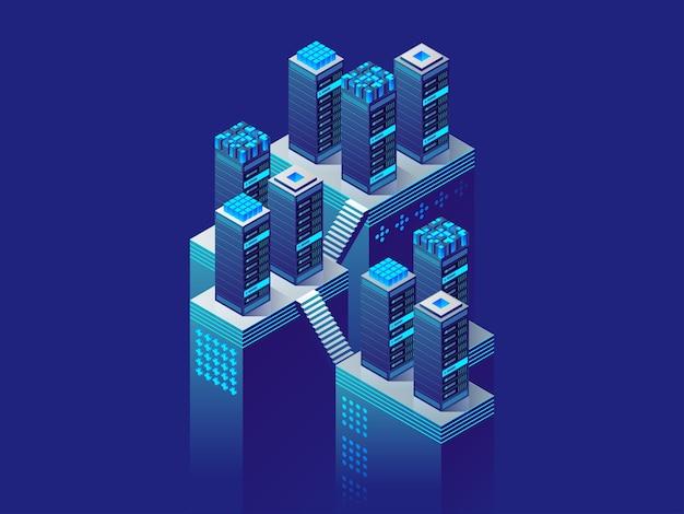 デジタル技術。サーバールームとビッグデータ処理の概念、データセンター、データベースアイコン。等角投影図