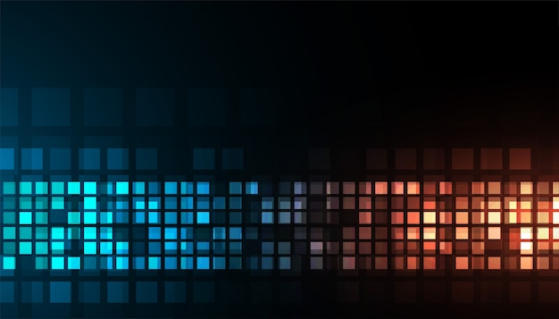 デジタル技術の光沢のある青とオレンジの暗い背景デザイン