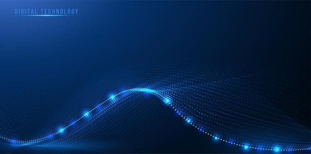 Волна цифровых технологий от соединяющего точечного дизайна, динамичный, струящийся красочный свет