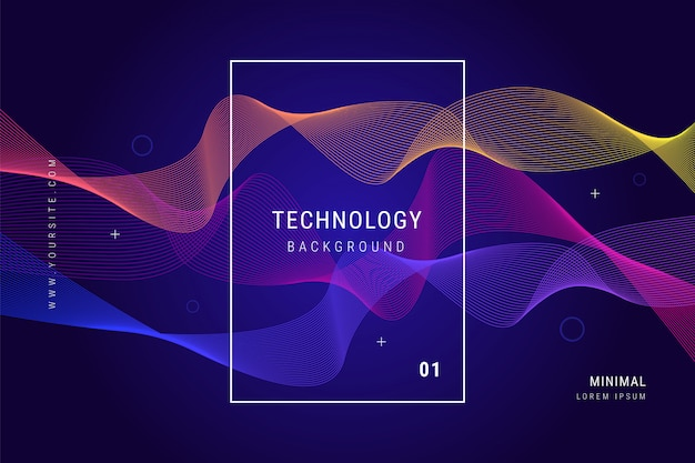 Digital technology wave lines mesh geometric background
