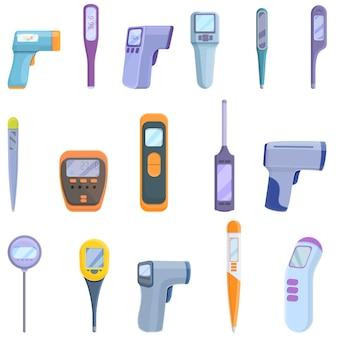 Набор иконок цифровой термометр. мультфильм набор иконок цифрового термометра для интернета