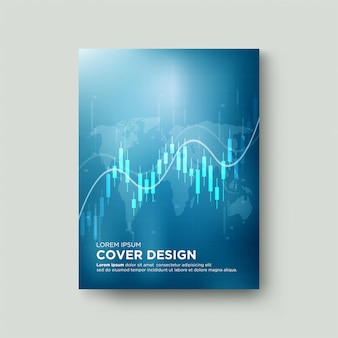 Digital trading cover with illustrations of candlestick charts and white curved lines.