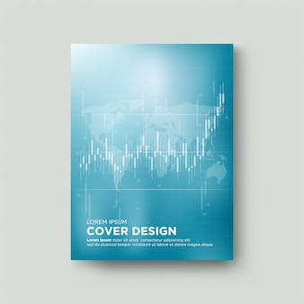 Digital trading cover with illustrations of white candlestick charts rising upwards.