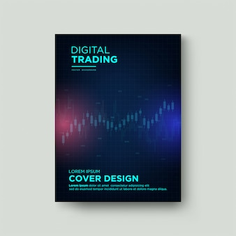 Digital trading cover with transparent white wax chart illustrations up and down on a dark background.