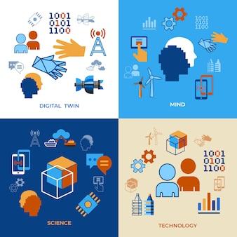 Digital tween assistant technology icons set