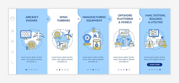 Digital twin application by industry onboarding vector template. responsive mobile website with icons. web page walkthrough 5 step screens. aircraft engines color concept with linear illustrations