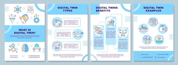 디지털 트윈 브로셔 템플릿입니다. 전단지, 소책자, 전단지 인쇄, 선형 아이콘이있는 표지 디자인. 전산화 된 개발주기. 잡지 레이아웃, 연례 보고서, 광고 포스터