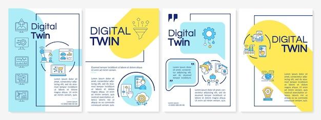 디지털 트윈 브로셔 템플릿입니다. 미래형 컴퓨터. 전단지, 소책자, 전단지 인쇄, 선형 아이콘이 있는 표지 디자인. 프레젠테이션, 연례 보고서, 광고 페이지용 벡터 레이아웃