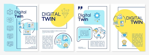 Digital twin brochure template. futuristic computers. flyer, booklet, leaflet print, cover design with linear icons. vector layouts for presentation, annual reports, advertisement pages