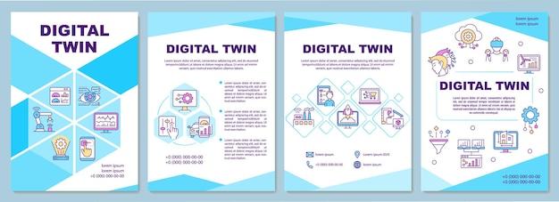 디지털 트윈 브로셔 템플릿입니다. 미래 기술. 전단지, 소책자, 전단지 인쇄, 선형 아이콘이 있는 표지 디자인. 프레젠테이션, 연례 보고서, 광고 페이지용 벡터 레이아웃