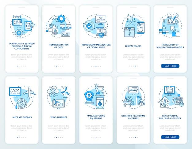 디지털 트윈 온보딩 모바일 앱 페이지 화면 세트. 최신 컴퓨터는 개념이 포함된 5단계 그래픽 지침을 안내합니다. 선형 컬러 일러스트레이션이 있는 ui, ux, gui 벡터 템플릿