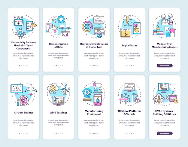 Digital twin onboarding mobile app page screen set. modern technologies walkthrough 5 steps graphic instructions with concepts. ui, ux, gui vector template with linear color illustrations