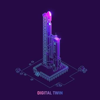 Illustrazione isometrica della tecnologia di simulazione gemellare digitale