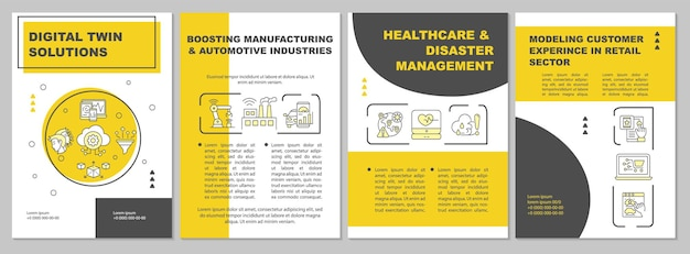 Digital twin solutions brochure template. automative manufacture. flyer, booklet, leaflet print, cover design with linear icons. vector layouts for presentation, annual reports, advertisement pages