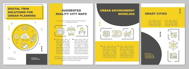 도시 계획 브로셔 템플릿을 위한 디지털 트윈 솔루션입니다. 전단지, 소책자, 전단지 인쇄, 선형 아이콘이 있는 표지 디자인. 프레젠테이션, 연례 보고서, 광고 페이지용 벡터 레이아웃