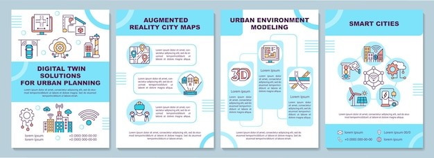 Digital twin solutions for urban planning brochure template. flyer, booklet, leaflet print, cover design with linear icons. vector layouts for presentation, annual reports, advertisement pages