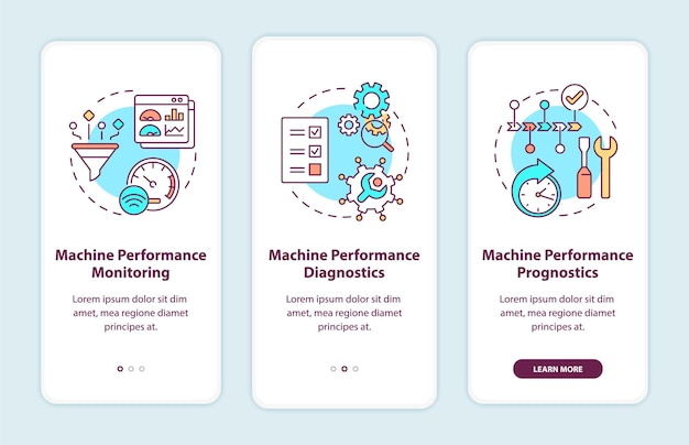 Digital twin tasks onboarding mobile app page screen. machine performance monitoring walkthrough 3 steps graphic instructions with concepts. ui, ux, gui vector template with linear color illustrations