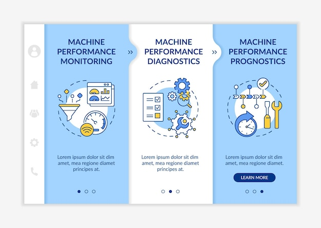 Digital twin tasks onboarding vector template. responsive mobile website with icons. web page walkthrough 3 step screens. machine performance monitoring color concept with linear illustrations
