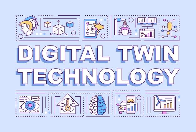 디지털 트윈 기술 단어 개념 배너입니다. 스마트 컴퓨터. 보라색 바탕에 선형 아이콘으로 인포 그래픽입니다. 고립 된 창조적 인 인쇄술. 텍스트와 벡터 개요 컬러 일러스트