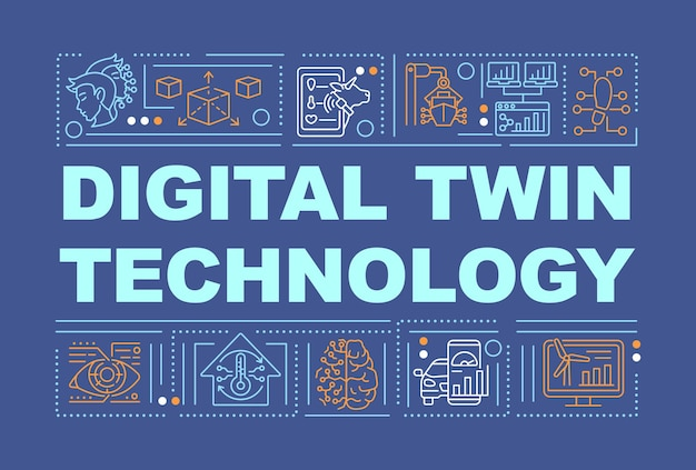 Digital twin technology word concepts banner. smart systems. infographics with linear icons on navy background. isolated creative typography. vector outline color illustration with text