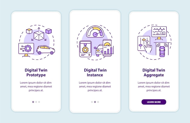 Digital twin types onboarding mobile app page screen. automation prototype walkthrough 3 steps graphic instructions with concepts. ui, ux, gui vector template with linear color illustrations
