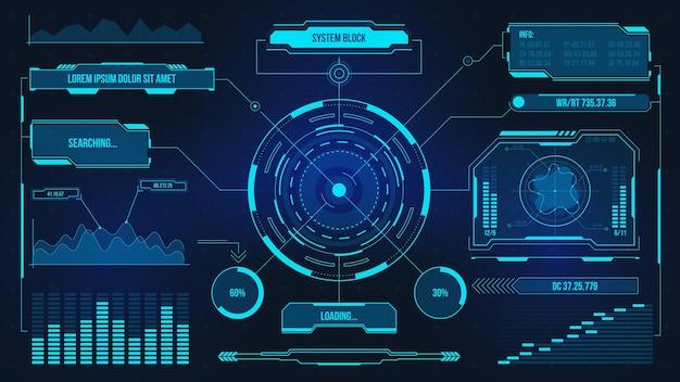 デジタルユーザーインターフェース。未来技術のui画面。ゲームカーまたは宇宙船のダッシュボード。ホログラムパネルのベクトル表示を分析または制御します。データチャート、コミュニケーション、コンピューティング