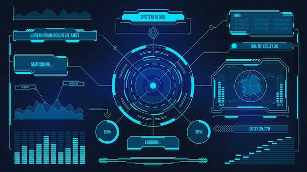 Digital user interface. futuristic technology ui screen. game car or spaceship dashboard. analysis or control hologram panel vector display. data chart, communication and computing