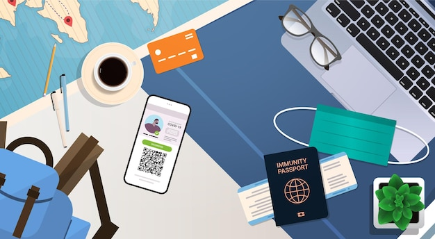 職場のデスクコロナウイルス免疫の概念に関するデジタル予防接種証明書とグローバル免疫パスポート