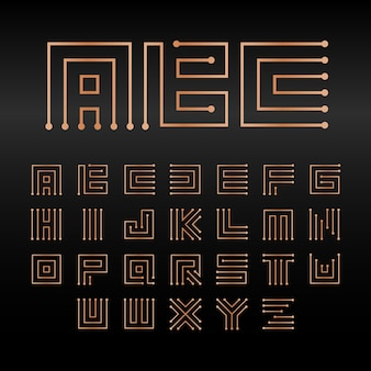 디지털 벡터 알파벳 절연 추상 기술 글꼴 마이크로칩 abc 로고 세트 전자