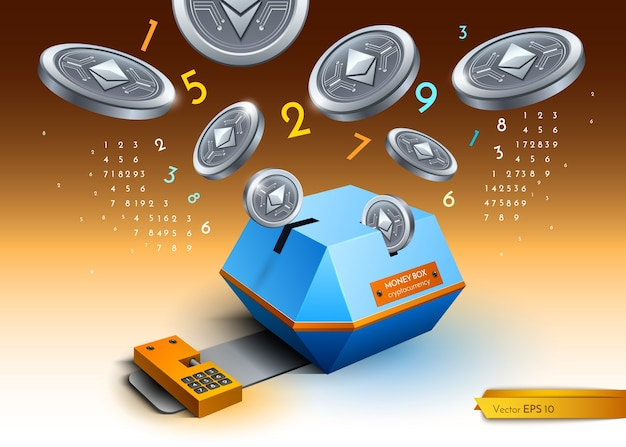Digital vector bitcoin etherium cryptocurrency blockchain detailed illustration. money spr