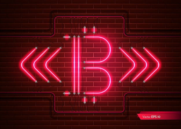 Digital vector bitcoin neon light. detailed cryptocurrency illustration on brick wall back