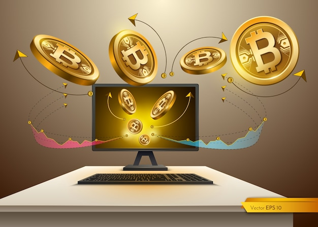 Digital vector bitcoin spread from computer. detailed cryptocurrency illustration with cha