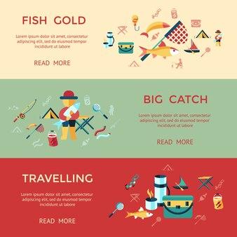 Цифровые векторные рыболовства набор коллекции иконки инфографика