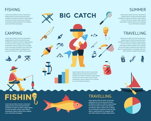 Цифровые векторные рыболовство набор коллекции иконки