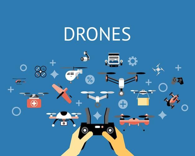 デジタルベクトル飛行ドローンオブジェクトアイコンセットコレクション