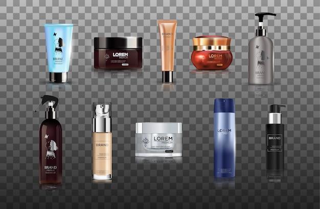 Digital vector realistic bottles set collection