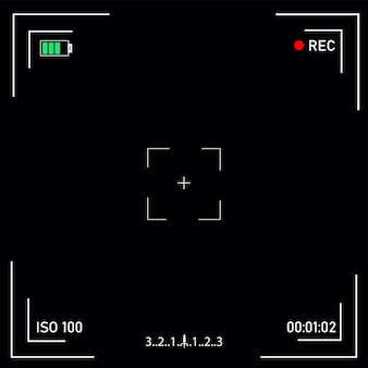 Digital video camera focusing screen with settings.