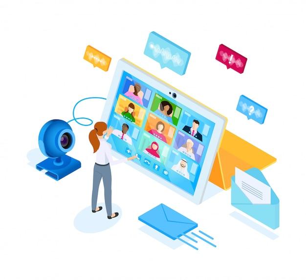 Процесс цифровой видеосвязи. иллюстрация в изометрическом стиле.