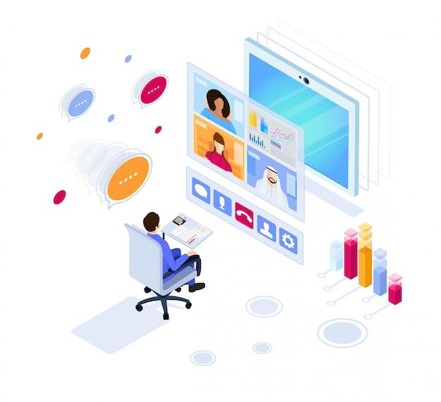 デジタルビデオ会議。オンラインビジネス会議。アイソメ図スタイルのイラスト。