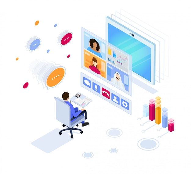 Digital video conference. online business meeting. illustration in isometric style.