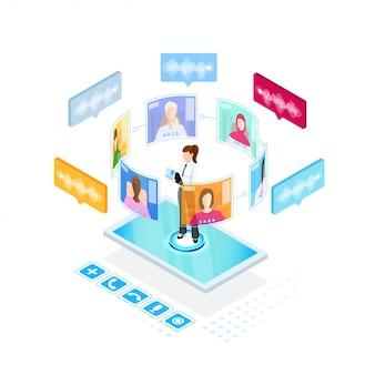 デジタルビデオ会議プロセス、アイソメ図スタイルのイラスト。