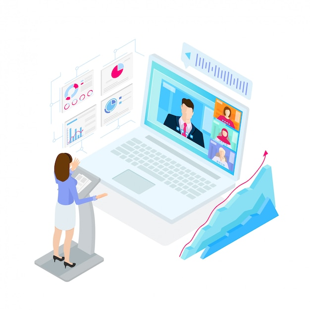 Digital video conference process, illustration in isometric style.