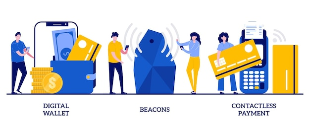 Digital wallet, beacons, contactless payment concept with tiny people illustration