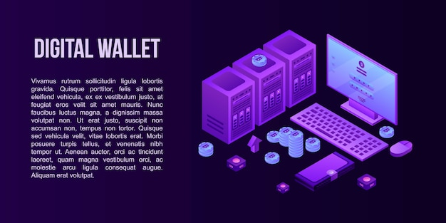 Digital wallet concept banner, isometric style